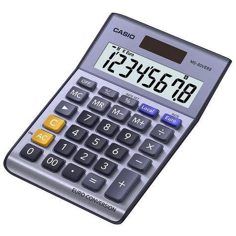 Casio Desk Calculator & Converter with Euro Currency Conversion & Solar Power Thumbnail 3