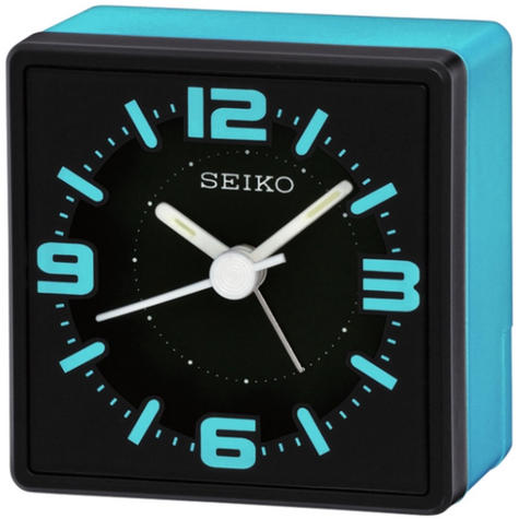 Seiko Analogue Bedside Alarm Clock - Blue QHE091L Thumbnail 2