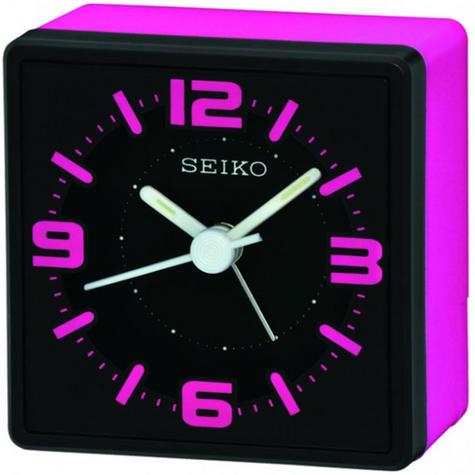 Seiko Analogue Bedside Alarm Clock - Pink QHE091P Thumbnail 2