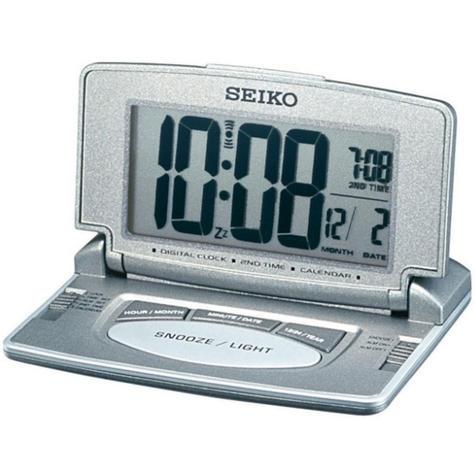 Seiko LCD Travel & Desk Alarm Clock with Dual Time Calendar Grey Silver QHL021N Thumbnail 2