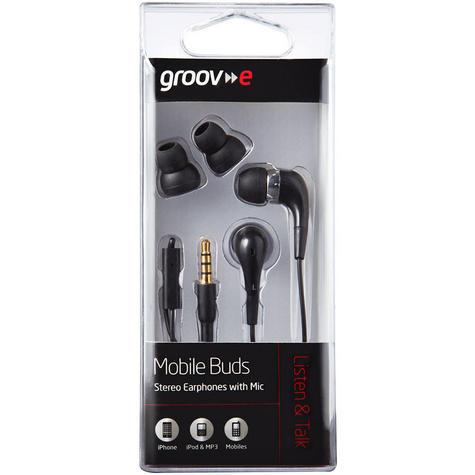 Groov-e Mobile Buds Stereo Earphones with Microphone - Black GVEB4BK Thumbnail 4