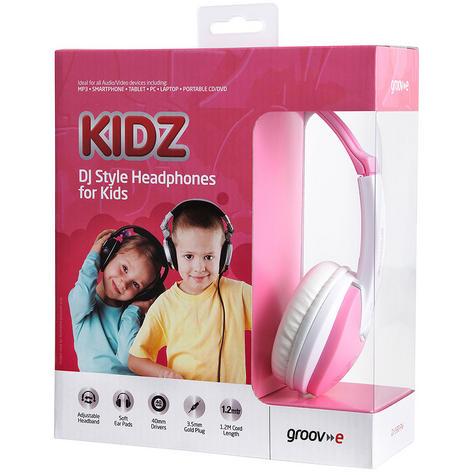 Groov-e Kidz DJ Style Headphone - Pink/White GV590PW Thumbnail 3