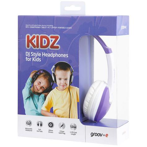 Groov-e Kidz DJ Style Headphone - Violet/White GV590VW Thumbnail 1