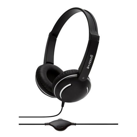 Groov-e Streetz Stereo Headphones with Volume Control - Black GV897BK Thumbnail 1