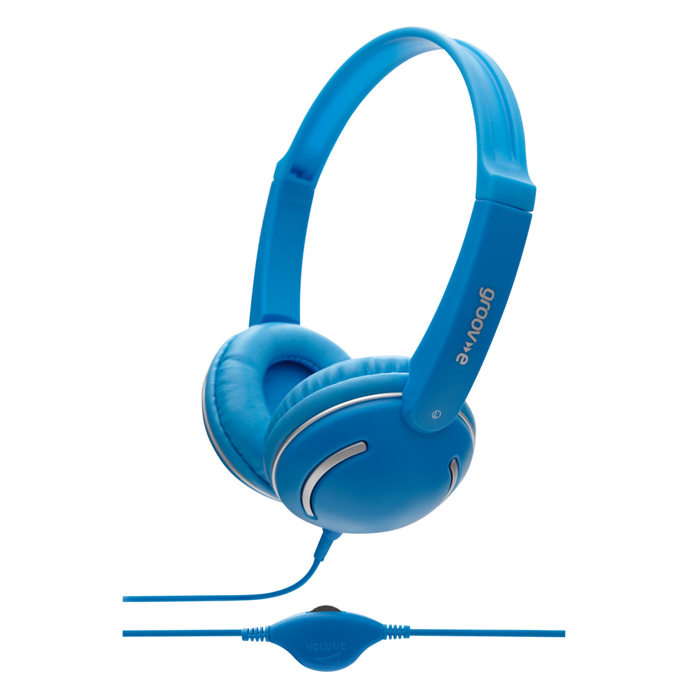 Groov-e Streetz Stereo Headphones with Volume Control - Blue GV897BE