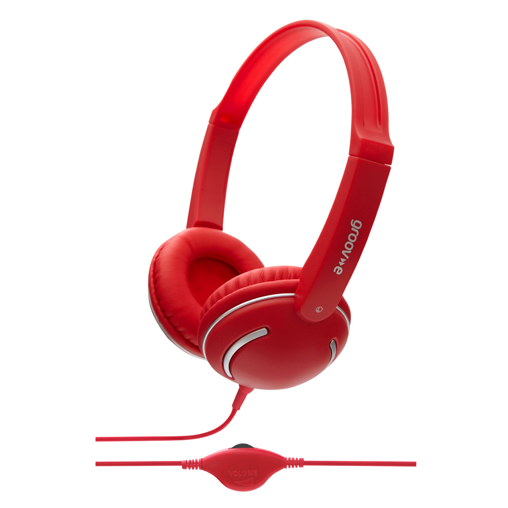 Groov-e Streetz Stereo Headphones with Volume Control - Red GV897RD