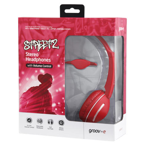 Groov-e Streetz Stereo Headphones with Volume Control - Red GV897RD Thumbnail 3
