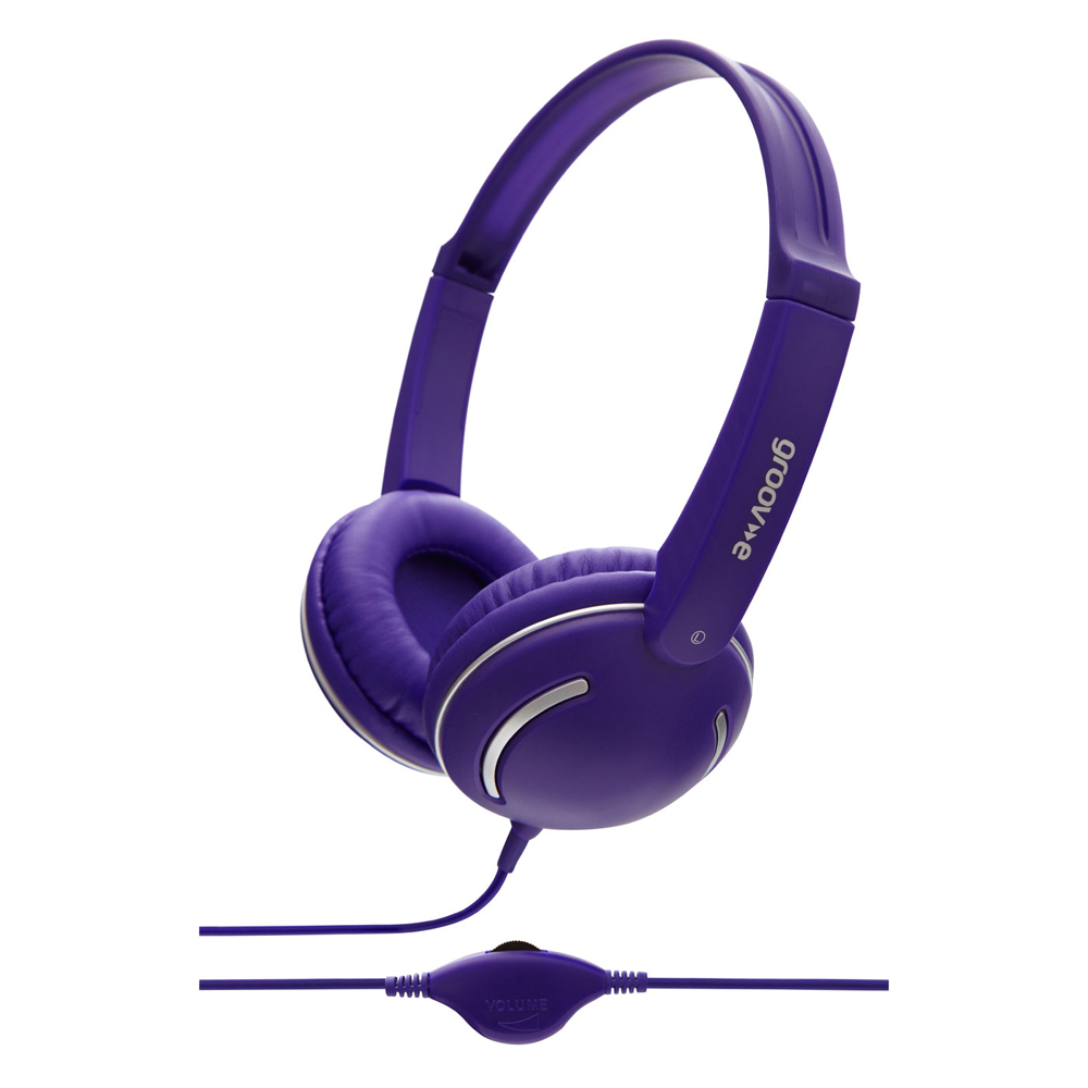 Groov-e Streetz Stereo Headphones with Volume Control - Violet GV897VT