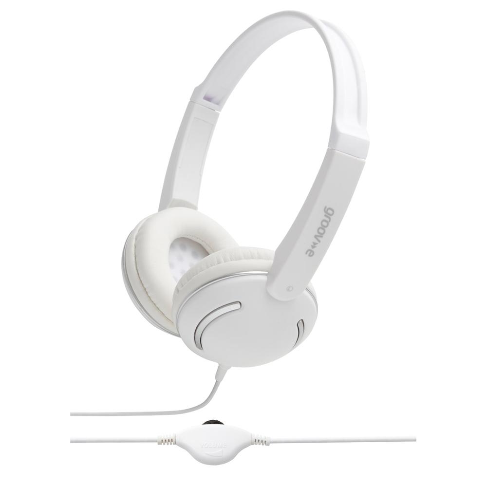 Groov-e Streetz Stereo Headphones with Volume Control - White GV897WE