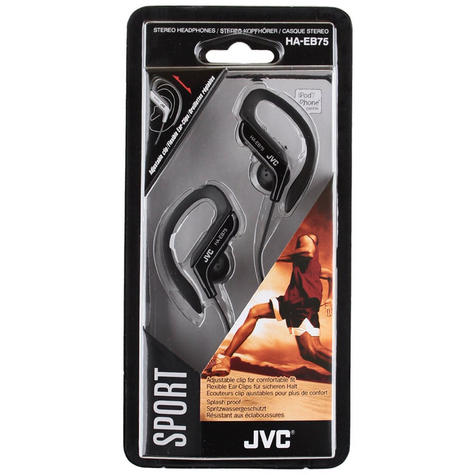 JVC Sports Running Jogging Gym Ear Clip Earphones Black iPhone iPod MP3 HAEB75B Thumbnail 4