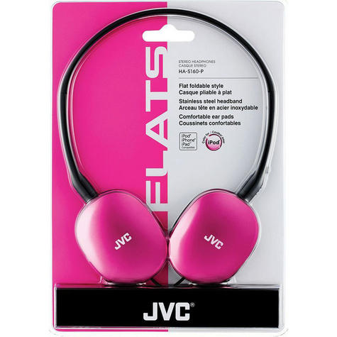 JVC Flats Foldable Stereo Earphones for iPhone MP3 Player Deep Bass Pink HAS160P Thumbnail 4