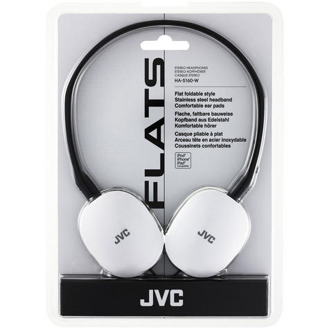 JVC Flats Foldable Stereo Earphones for iPhone MP3 Player Deep Bass White Thumbnail 4