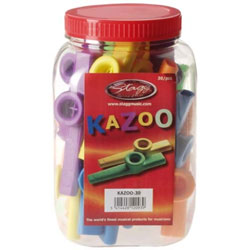 Stagg Tub Plastic Kazoo Suitable for Ages 3+ Assorted Colours - Pack of 30 Music Thumbnail 2