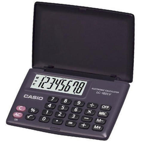 Casio LC160LV Pocket Calculator Large Display & Flip Cover Case Battery Powered Thumbnail 2
