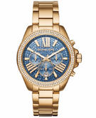 Michael Kors Ladies' Wren Blue Face Gold Tone Chronograph Designer Watch MK6291