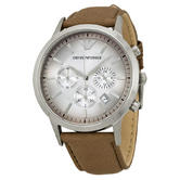 Emporio Armani Gents Stainless Steel Case Leather Strap Chronograph Watch AR2471