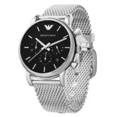 Emporio Armani Classic Black Dial Stainless Steel Mesh Bracelet Watch AR1811