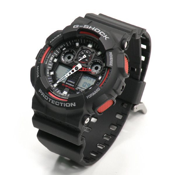 a84466aa66f37 Casio Mens G Shock Black   Red GA 100 1A4ER ANTI MAGNETIC RESIST LCD