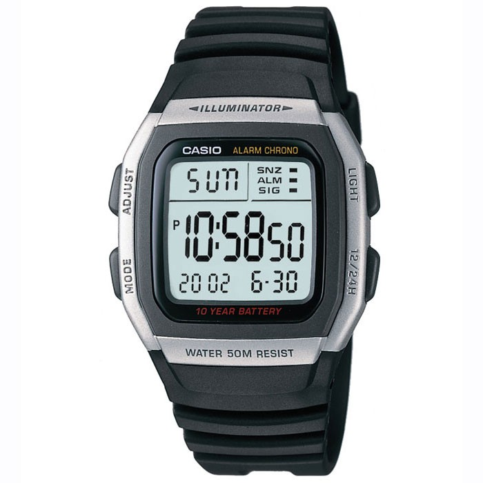 Casio Gents Digital Alarm Chronograph LCD Watch W-96H-1AVES 50m Water Resistance