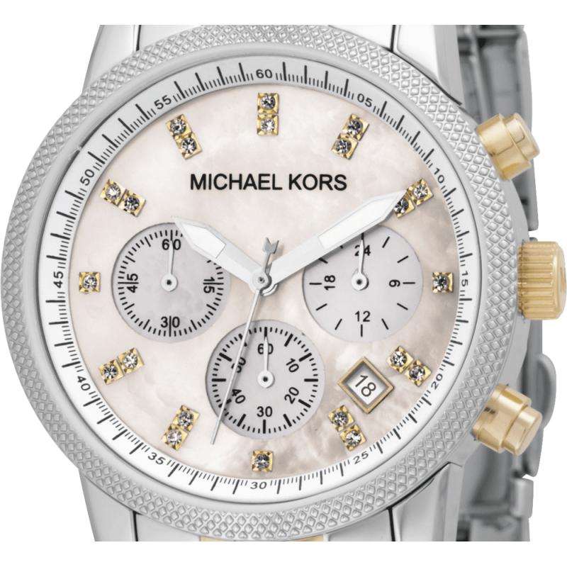 designer watches for women michael kors ddgw  Michael Kors Ladies Ritz Two-Tone Chronograph Designer Watch MK5057  Thumbnail 2