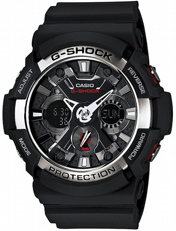 Casio G-Shock Black Analogue Digital Men's Alarm Watch GA-200-1AER New