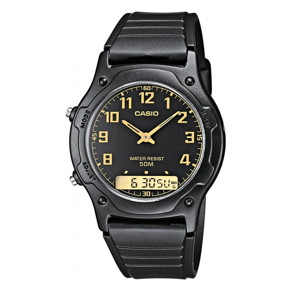 Casio Gents AW-49H-1BVEF Stopwatch Combi Black Watch Dual Time Water Resistant