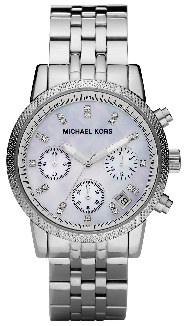 michael kors ladies ritz silver tone camille chronograph designer watch mk5020 sustuu. Black Bedroom Furniture Sets. Home Design Ideas