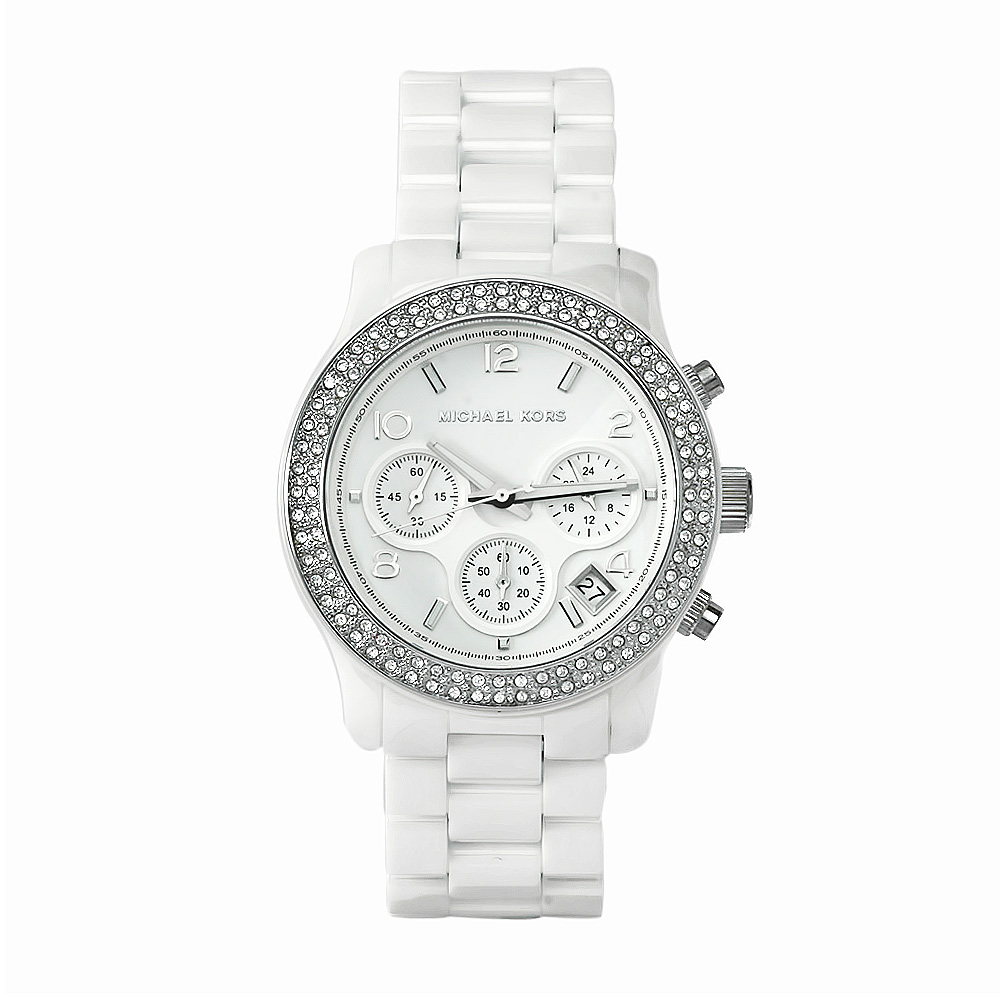 michael kors damen wei keramik armband chronograph designer armbanduhr mk5188 691464269326 ebay. Black Bedroom Furniture Sets. Home Design Ideas