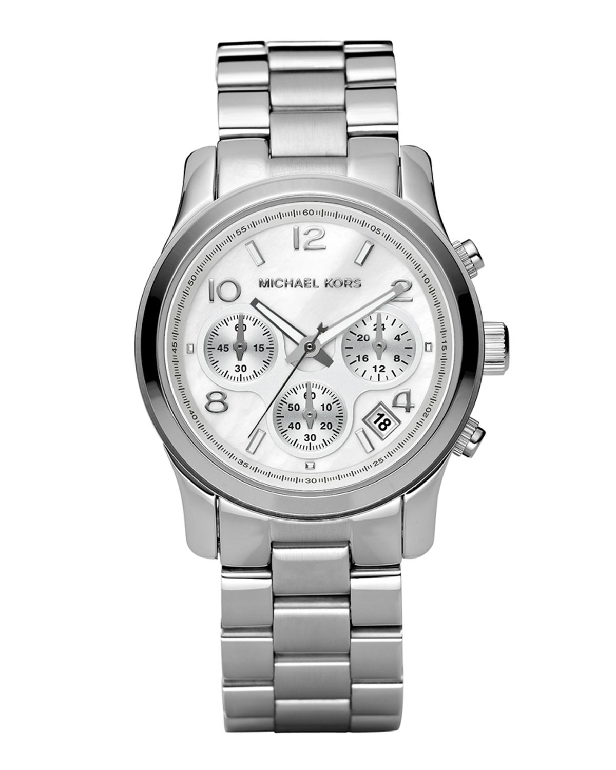 michael kors damen silberfarben chronograph runway. Black Bedroom Furniture Sets. Home Design Ideas