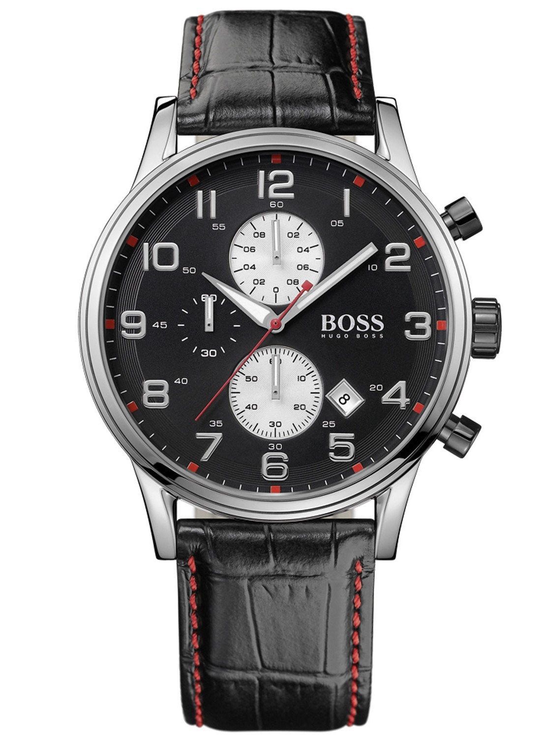 hugo boss gent 39 s black leather red stitched chronograph. Black Bedroom Furniture Sets. Home Design Ideas