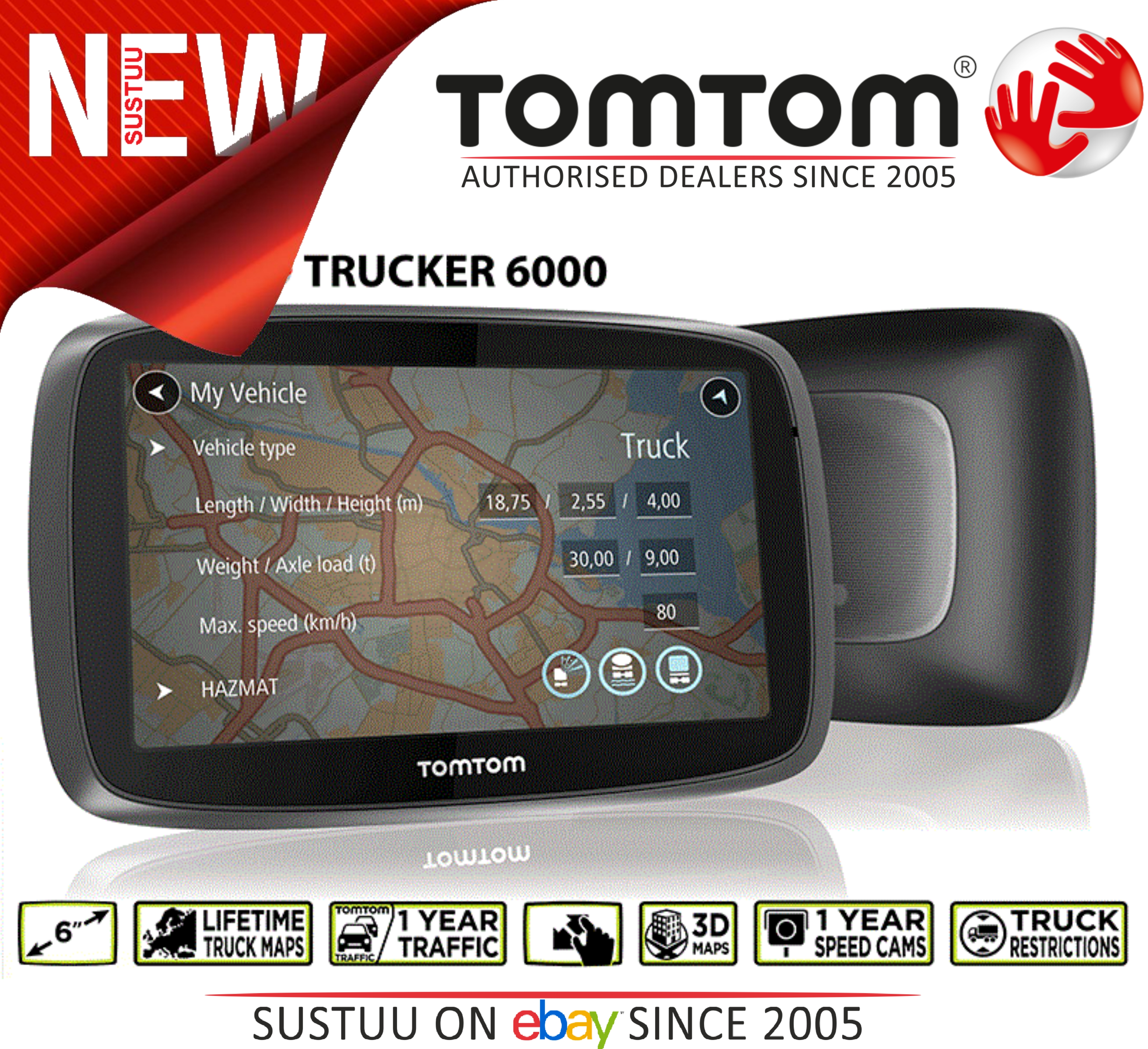 tomtom trucker 6000 gps satnav truck hgv free eu lifetime maps 1 year traffic sustuu. Black Bedroom Furniture Sets. Home Design Ideas