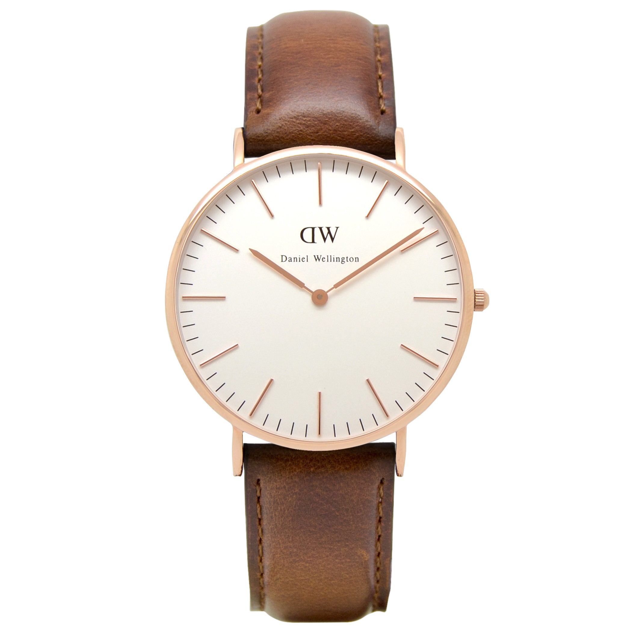 Daniel wellington classic st mawes 40mm gent 39 s rose gold leather strap watch for Leather strap watches
