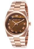 Michael Kors Channing Brown Dial Ladies Designer Rose Gold Bracelet Watch MK5895