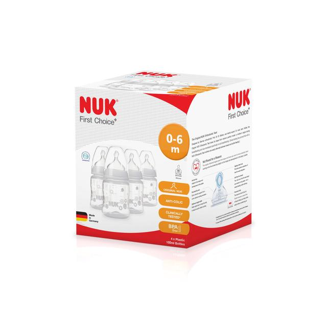 NUK Baby Anti-Colic First Choice Plus 150ml Feeding Bottle Silicone Teat 4 Pack