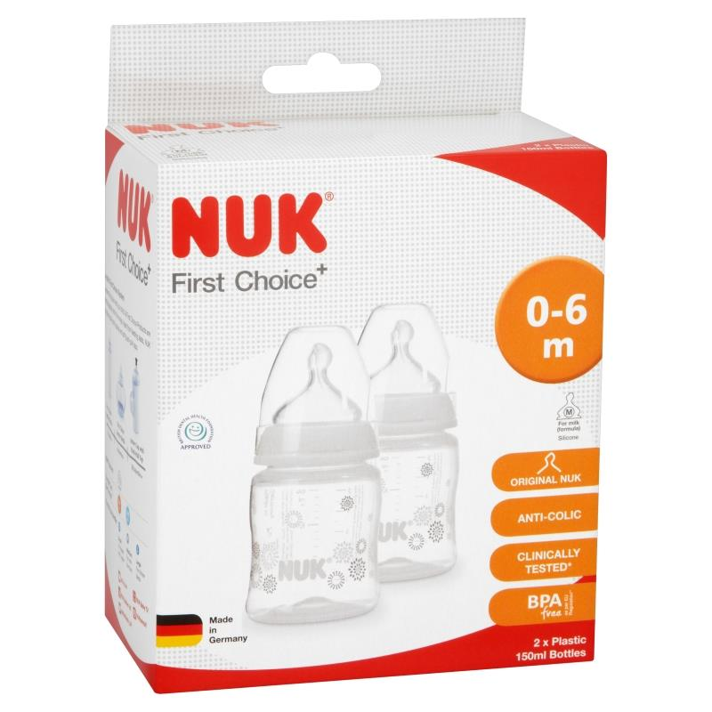 NUK Baby Anti-Colic First Choice Plus Feeding Bottle 150ml Silicone Teats 2 PacK