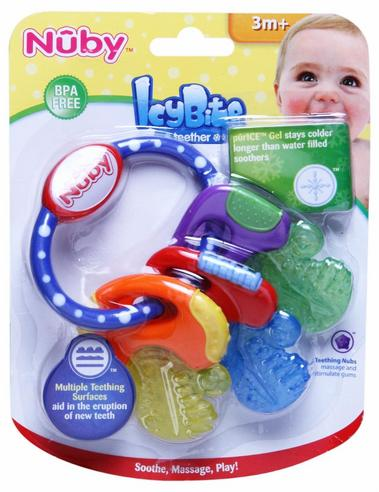 Nuby Baby Nontoxic Comforter Icy Bite Keys Pacifier Early Teething Teether Toy Thumbnail 4