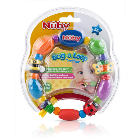 Nuby Baby Bug a Loop Teether Massaging Nub-eez soothe & stimulate Toy BPA-Free Thumbnail 4
