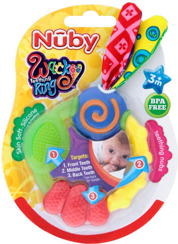 Nuby Babycare Wacky Looney Teething Ring Baby Soothing Teether Infant Toy 3m+ Thumbnail 2