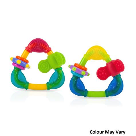 Nuby Baby Teething Nontoxic Movable Fun Spin Colourful Teether Infant Toy 3m+ Thumbnail 1