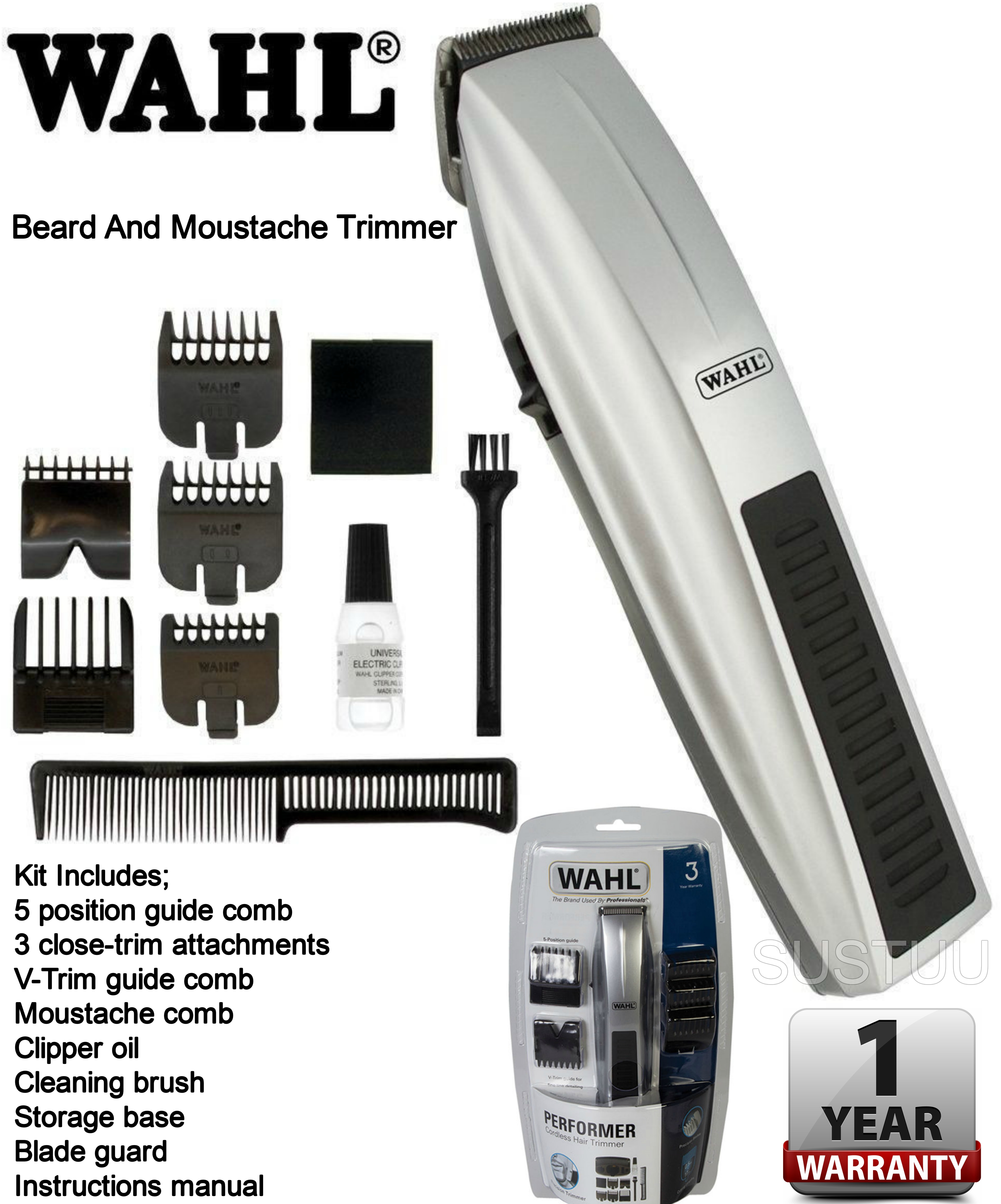 wahl 5537 217 performer cordless essentials grooming beard moustache trimmer. Black Bedroom Furniture Sets. Home Design Ideas