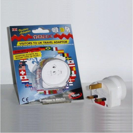 Omega 21106 Travel Plug Adaptor UK Visitors Universal Multi Plug to 3 Pin White