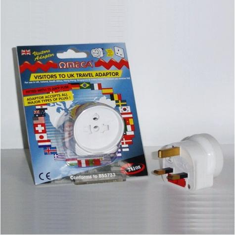Omega 21106 Travel Plug Adaptor UK Visitors Universal Multi Plug to 3 Pin White Thumbnail 1