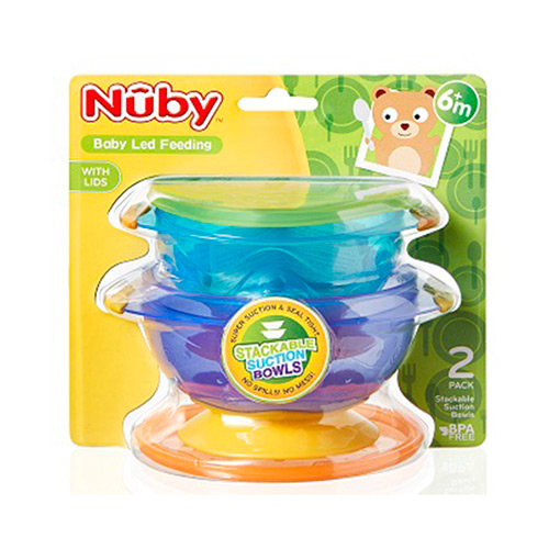 Nuby Baby Non-Slip Food Seal Tight Stackable Suction Toddler Feeding Bowls 2Pack