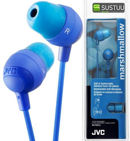 JVC Marshmallow Comfortable In-Ear Earphones Stereo Headphones Earbuds BLUE NEW Thumbnail 1