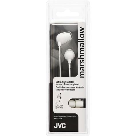 JVC Marshmallow Stereo Comfortable Memory Foam In Ear Earphones White HA-FX32-W Thumbnail 2