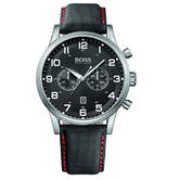 NEW Hugo Boss Gent's Aeroliner Black Leather Strap Chronograph Watch 1512919