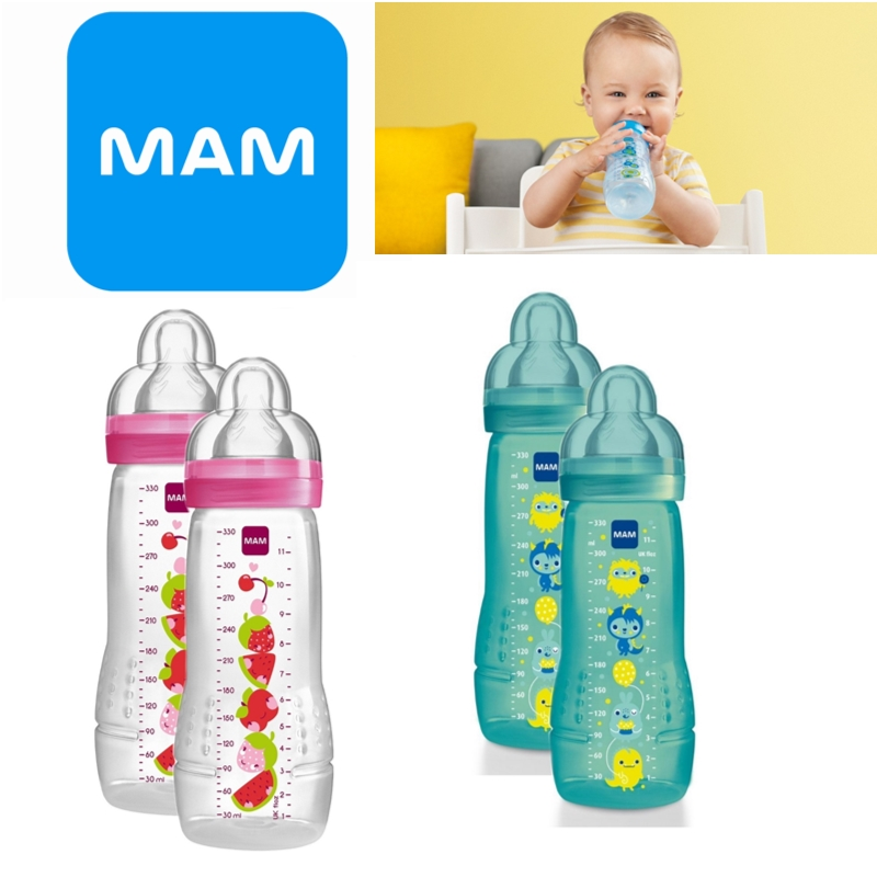 Mam Baby Formula Fast Flow Feeding Anti-Colic Infant Spill Free Lid Bottle 330ml