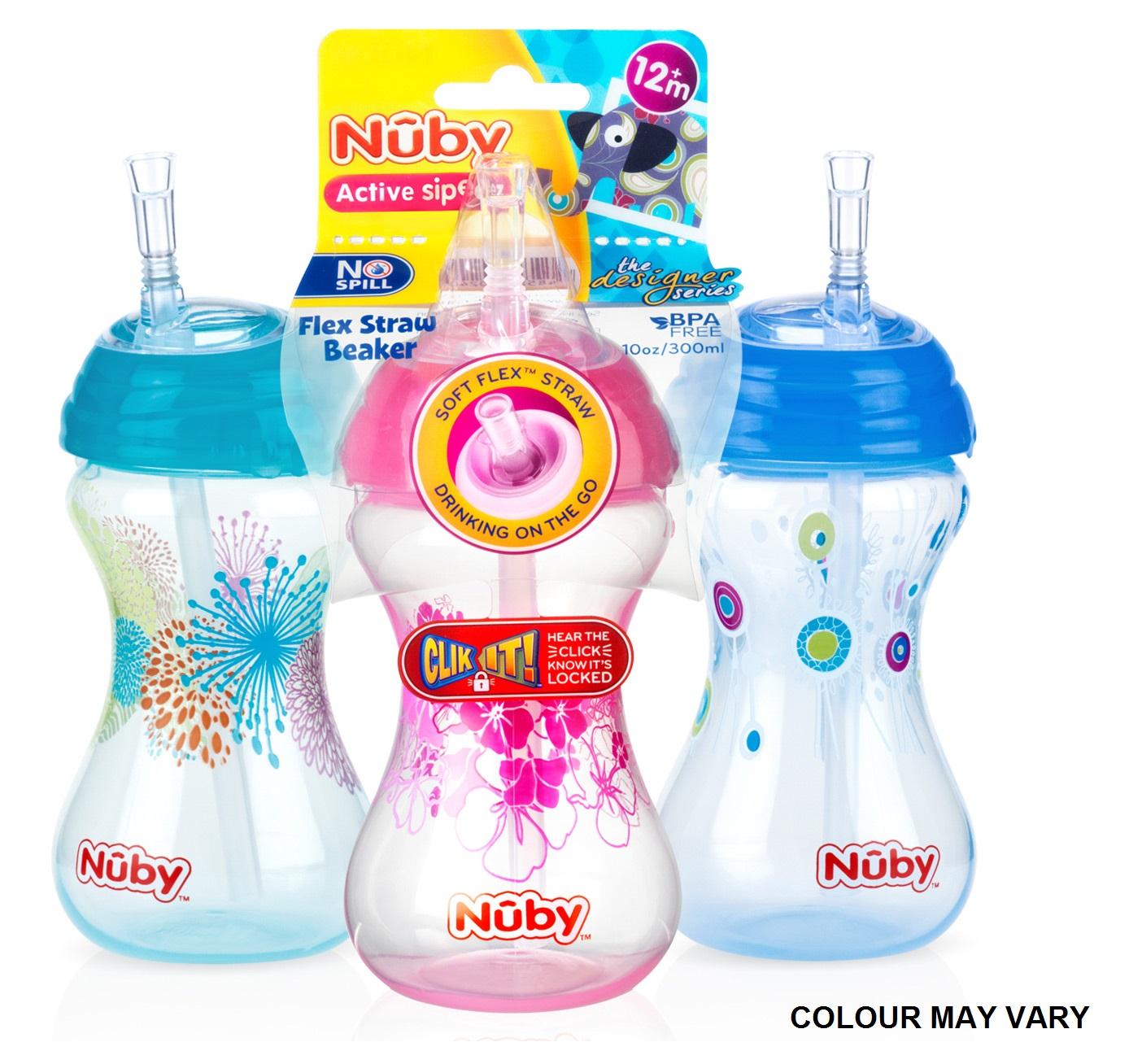 Nuby Children Easy Sip Non-Spill Flexi Straw Designer Series Toddler Cup 300ml