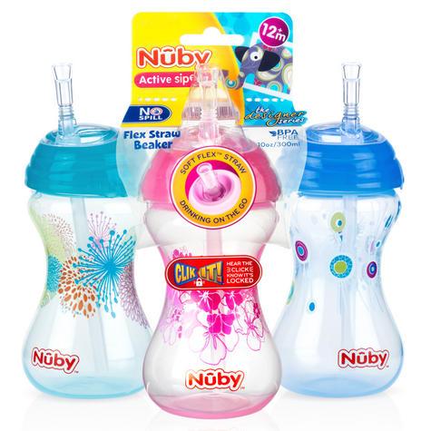 Nuby Children Easy Sip Non-Spill Flexi Straw Designer Series Toddler Cup 300ml Thumbnail 2