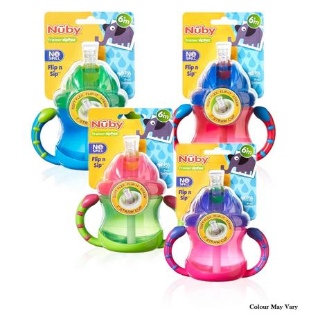 Nuby Baby Flip N Sip Two Easy-grip Handle Silicone Straw Training Cup 240ml +6 Thumbnail 1